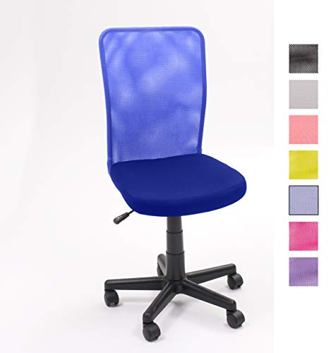 Homely Silla Child de Escritorio y Estudio Juvenil, giratoria con elevación y Ruedas (Azul MF-03)