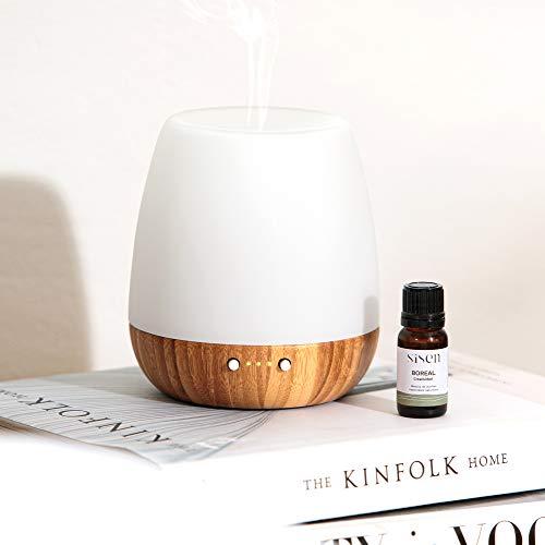 KIT KAORI: Difusor de Aceites Esenciales 180 ml + Aceite esencial Boreal 10ml | Ideal Aromaterapia | Humidificador Ultrasónico, Temporizador 1-3-8 horas | De Madera y Vidrio
