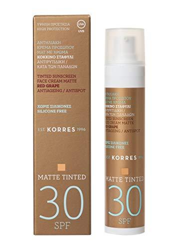 Korres RED GRAPE Anti-Ageing/ Anti-Spot getönte Sonnencreme für das Gesicht SPF30 - Matt, 1er Pack(1 x 93 g)