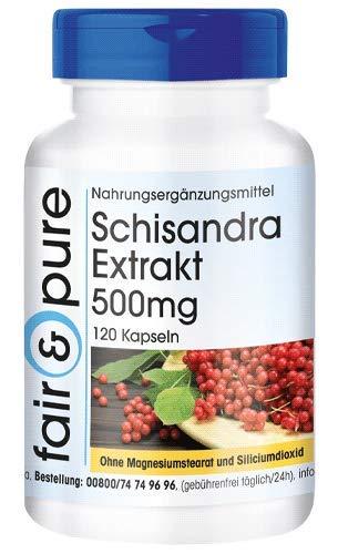 Schisandra - Polvo en Cápsulas - Extracto de Schisandra chinensis 500mg - Vegano - 9% de Schisandrina - 120 Cápsulas
