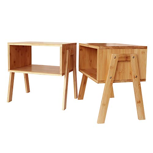 Zoopolyn Nightstands Set of 2 Bedroom Natural Bamboo Stackable Side Table for Living Room Beside Table Set of 2