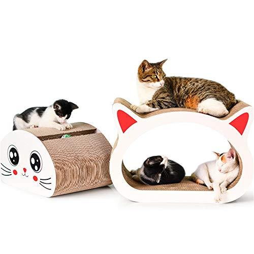 Zhicaikeji Tabla de Rascar para Gatos Gato Rascador Set 2pcs arañazos cartón Ondulado de Papel Corrugado Bola Gato Rascarse Junta Gato Junta Garra para Jugar (Color : White, Size