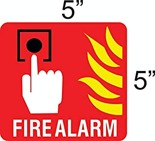 """eSplanade Fire Alarm Sign Decal Sticker - Easy to Mount Weather Resistant Long Lasting Ink Size (5"""" x 5"""")"""