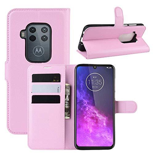 "Capa Capinha Carteira 360 Para Motorola Moto One Zoom Tela De 6.4"" Polegadas Case Couro Flip Wallet - Danet (Rosa)"