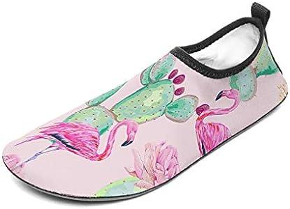 Wraill - Escarpines para la playa o el agua, diseño de flamencos, color rosa, Unisex, blanco, 34/35