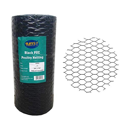 MTB PVC Hexagonal Poultry Netting Chicken Wire 24' x150' x 1' Mesh 20GA Black
