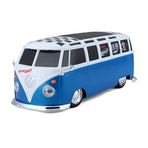 Maisto Tech R/C VW Bus Samba: Ferngesteuertes Auto VW T1, mit Pistolengriff-Steuerung und Hinterradantrieb, Maßstab 1:24, schwarz-weiß (581144-1)