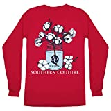 Southern Couture Classic Collection Cotton Bud Mason Jar Long Sleeve Womens Classic Fit T-Shirt; Red, X-Large