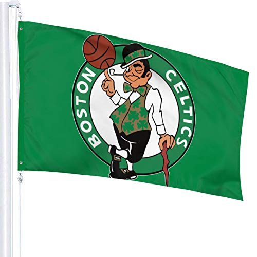 Xihe Fashion Design Basketball Team Single Sided Banner Indoor and Outdoor Sports Flag with Grommets 3X5 FT (Boston Celtic )