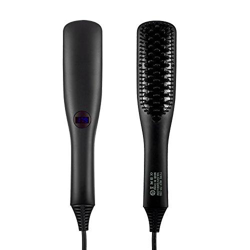 Cepillo alisador de pelo, iBeauTek 2 en 1 ionic Electric Cepillo de pelo mojado y seco estilo con dientes antical de cerámica avanzada y función de bloqueo de temperatura
