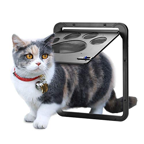 OWNPETS ペットドア 網戸専用 網戸用ペットの出入り口 取付簡単 猫、小型犬用 取り付け説明書付き 24cm×29cm グレー ペット出入り口 ロック付き 挿し込む式ドア 磁石設計