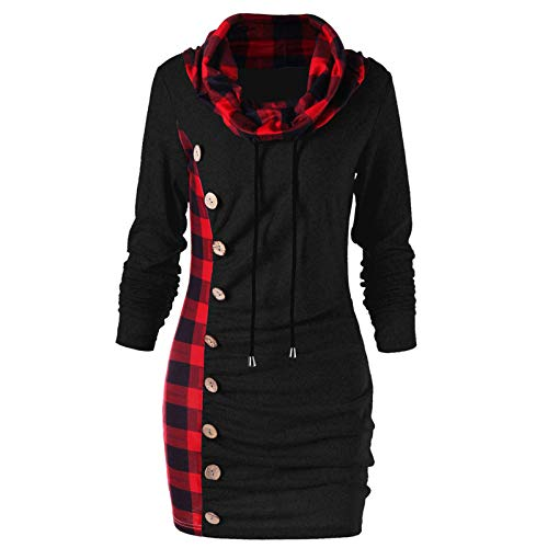 URIBAKE Women's Fashion Plaid Scarf Collar Dress Buttons Decoration Patchwork Casual Tops Black