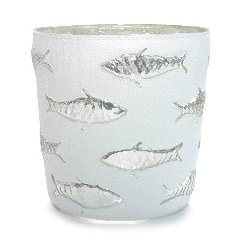 Werner Voss Windlicht Kerzenhalter Silber Fisch Glas Kerzenleuchter maritim modern Design 15 cm