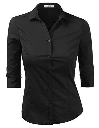Doublju Womens Slim Fit Plus Size Plain Classic 3/4 Sleeve Button Down Collar Shirt Blouse Black X-Large