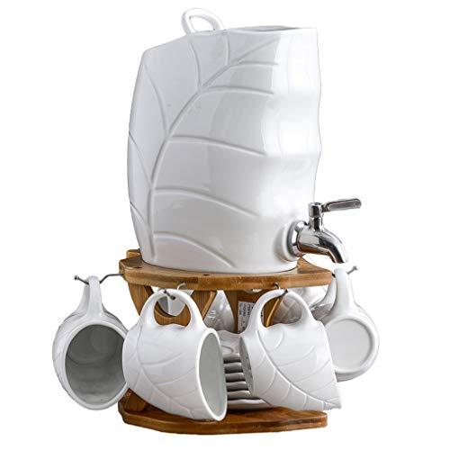 HXPP Getränkespender mit Spigot-Getränkezufuhr mit Standplatz, Keramik Kaltwasserflasche Abdeckung for warmes und kaltes Wasser, Getränke, Kaffee, Milch, Fruchtsaft (Color : A)