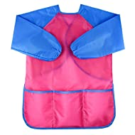 KUUQA Waterproof Art Smock, Kids Art Aprons Children's Art Smock Long Sleeve with 3 Roomy Pockets (Paints and Brushes not Included)