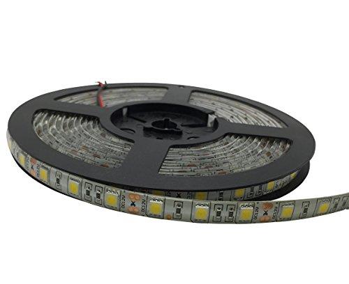 YXH Ruban Bandes LED 5M 5 mètres étanche SMD 5050 12V DC flexibles LED 3000k pour Éclairage, cuisine, Noël, Indoor & Outdoor Décoration (blanc chaud)