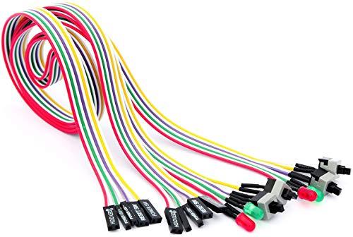 56tiankoou 2Pcs 4in1 PC Power-Reset-Schalter HDD Motherboards LED Kabel Licht-Draht-Kit für Computer-65cm