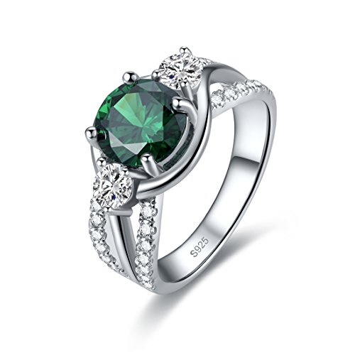 Merthus Cocktail Jewelry Synthetic Emerald 925 Sterling Silver Ring for Women Size 8