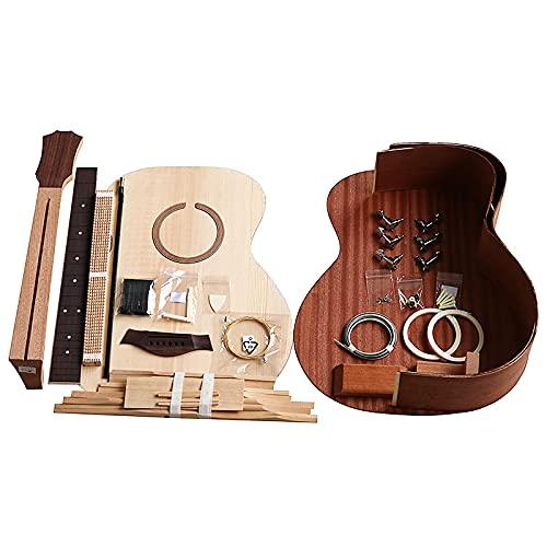 KEPOHK 41 pulgadas Guitarra de esquina redondeada Diy Folk Ballad Paquete de accesorios para una sola guitarra Abeto Madera maciza Lado trasero Contrachapado 41 pulgadas 41GA Ronda