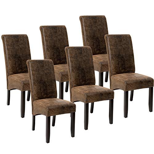 TecTake 6er Set Esszimmerstuhl Kunstleder Stuhl mit hoher Rückenlehne, ergonomische Form, Stuhlbeine aus Hartholz massiv, 106 cm hoch - Diverse Farben - (Antik Braun | Nr. 403501)