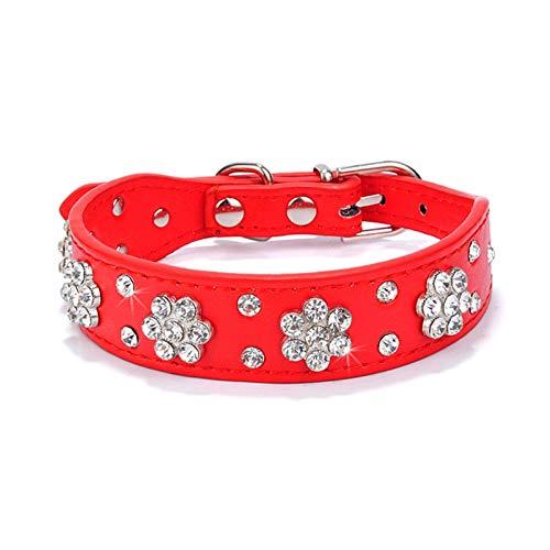 N\C Bling Rhinestone Collar de piel ajustable para cachorros y gatos, chihuahua, pug yorkshire