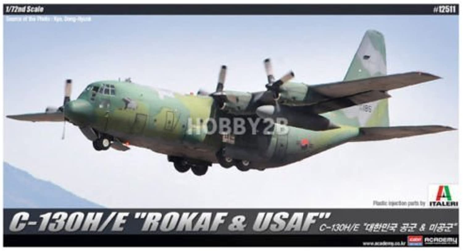 Academy 1 72 C-130H E ROKAF & USAF Aircraft Plastic Model Kit  12511 by Academy