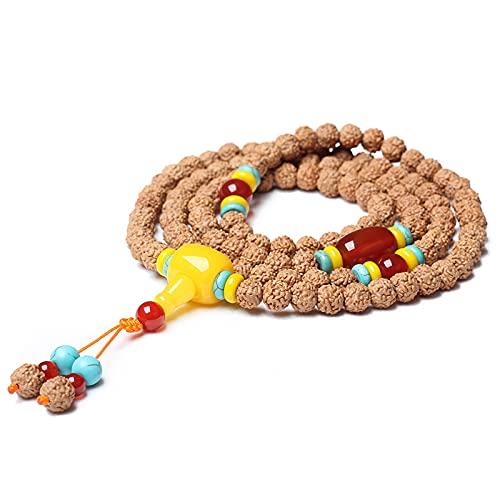 Cakunmik 108 Beads Pulsera Tibetana Buddista Buda Natural Nepalés Tibetano Semilla Cruda Vajra Bodhi Collar Joyería para Navidad Regalo De Cumpleaños, 8Mm