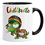 MoonWorks® Taza de café Chillkröte Tortuga Rastafrisur Joint Comic estilo taza de café Fun-Tasse, cerámica, Chillkröte...