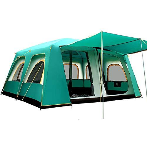 Mountaineering Tent Camping Tent 2-Door Instant Tents Windproof 4-Season Freestanding 16-Person for Backpacking 460360210cm Tents for Camping Backpacking ( Color : Green , Size : 460X360X210cm )