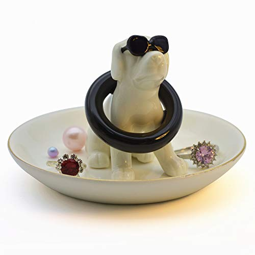 Cute Dog Stand Buoy Ring Design Jewelry Tray Holder Elegant Home Decor Boutique Trinket Tower Dish