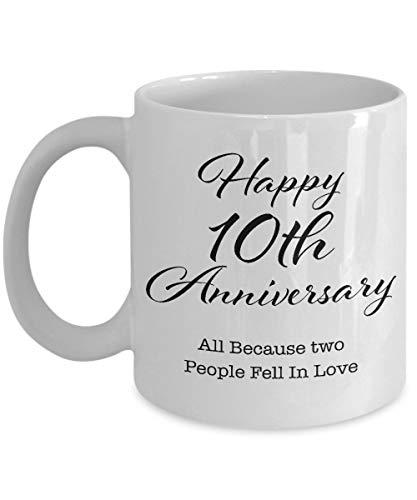 Regalo de aniversario de 10 años para hombres, su pareja, esposo, esposa, padres, él, mujeres, novio, novia, feliz décima boda, taza de café