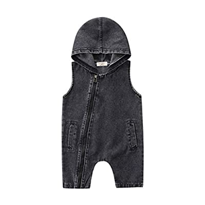 LiLiMeng 2019 New Toddler Kids Baby Boys Outfits Clothes Denim Hooded Sleeveless Romper Jumpsuit