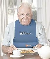 tesss 大人用 介護用エプロン 食事用シリコン 防水 洗濯簡単 6段階調節可能 高齢者 寝たきりの人 中風や麻痺の患者 認知症の方 (ブルー)