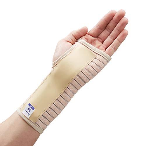 Transpirable Muñequera Elástica Con Férula- Perfecta para curar el síndrome de túnel carpiano, fracturas de muñeca, distensiones de muñeca o lesiones por esfuerzo repetitivo- Negra o beige. (S, Beige Derecha)