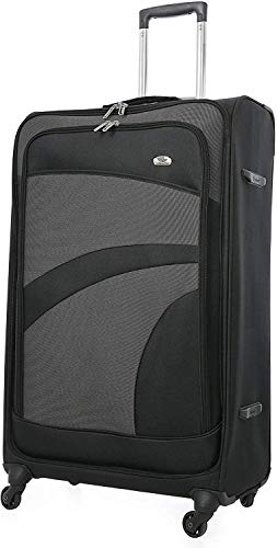 Aerolite Extra Large 32' Super Lightweight 4 Wheel Spinner Check-in Hold Luggage Suitcase Travel Trolley Case Black Grey