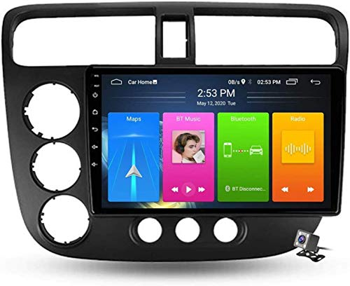 LYHY Android 10 Radio de navegación GPS para automóvil para Honda Civic 7 2000-2006 con Soporte táctil de 9 Pulgadas 5g FM Am RDS/DSP MP5 Player/Control del Volante/Carplay Android Auto