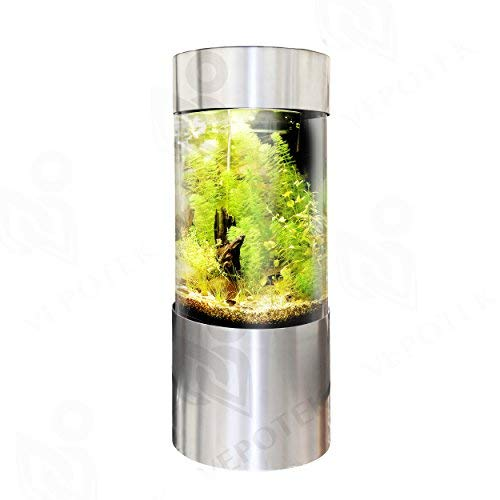 Vepotek 55-Gallon Full Acrylic 360 Cylinder Aquarium Fish Tank with Brushed Stainless Steel Base and Canopy (Tall Base Version), 69 in. x 20 in.