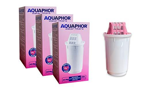 AQUAPHOR A5 Ersatz-Wasserfilter-Kartuschen für Provance, Prestige, Atlant, Smile und alle B5 und B6 kompatiblen Krüge 3 Pack with Magnesium