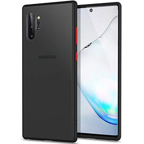 YATWIN Funda Samsung Galaxy Note 10 Plus, [Shockproof Style] Funda Protectora Parte Posterior de PC Dura Translúcida Mate, Topes Flexible de TPU para Carcasa Samsung Note 10+ 5G 6.8''- Negro C