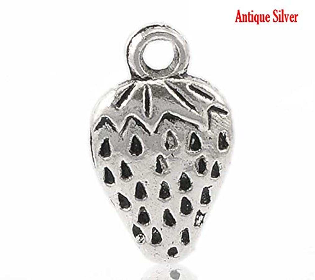 PEPPERLONELY 40pc Antiqued Silver Alloy Strawberry Fruit Charms Pendants 17x10mm (5/8