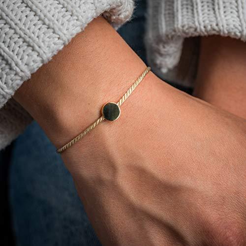 Made by Nami Filigranes Kordel-Armband mit Anhänger - Freundschaftsarmbänder Geburtstagsgeschenk beste Freundin - Größenverstellbar - Glücksbringer Armband (Beige Kreis-Armband)