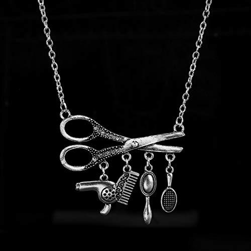 N/A Collar de barbero Joyas Herramientas Bonitas Secador de Pelo/Tijera/Peine/Mirro Mini Collar con Colgante Peluquería Peluquería Collar de Regalo
