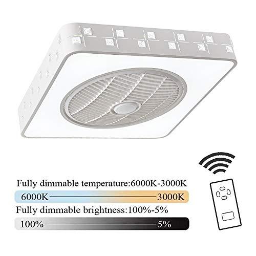 Plafondventilator met verlichting en afstandsbediening stille ventilator plafondlamp dimbaar LED lichtbron instelbaar derde snelheid moderne slaapkamer woonkamer binnenverlichting 36 watt wit