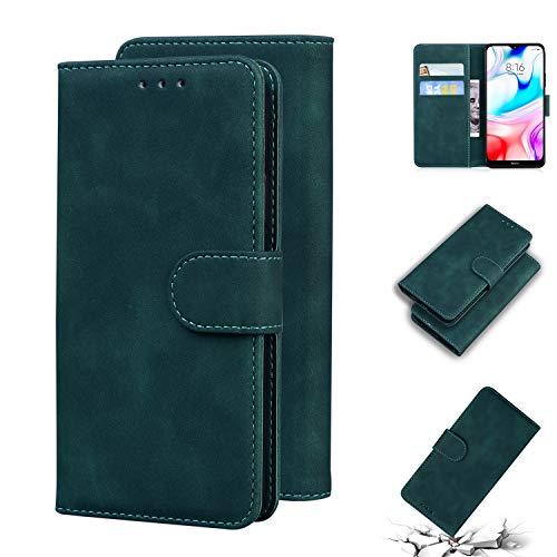 Snow Color Xiaomi Redmi 8 Hülle, Premium Leder Tasche Flip Wallet Case [Standfunktion] [Kartenfächern] PU-Leder Schutzhülle Brieftasche Handyhülle für Xiaomi Redmi 8 - COTX010733 Grün
