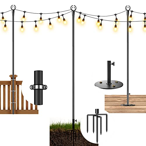 JUZIHAO String Light Poles for Outside, 9ft Sturdy 5-Prong Fork Metal Poles, Posts for Outdoor Hanging Lights for Party, Garden, Deck, Bistro, Wedding Decorations(2 Pack)