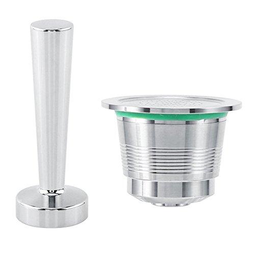 Kit Tamper à café pour Nespresso machine à café en inox + Capsule rechargeable de machine café nespresso en inox + Cuillère de mesure