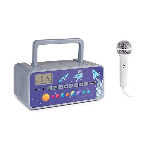 auna Kidsbox Space CD Minicadena - Reproductor de CD, micrófono de Mano, Bluetooth, sintonizador de Radio FM, Puerto USB, Pantalla LED, alimentación/batería, Conector de 3,5 mm para Auriculares, Gris