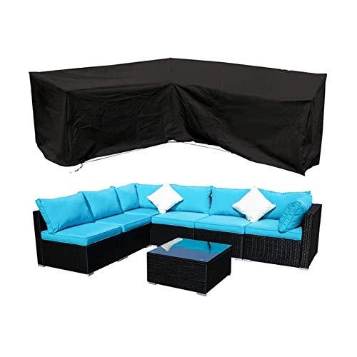 Funda Mesa Jardin Jardín Al Aire Libre Funda De Sofá De Esquina para Muebles Impermeable Guardapolvo para Muebles Material Exterior (Color : Negro, Size : 286X222X82cm)