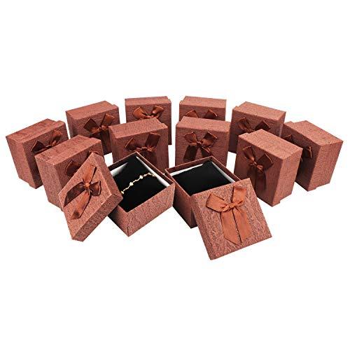 BELLE VOUS Cajas Regalo Joyas (Pack de 12) - (9,5 x 9,5 x 6cm) Cajas de Cartón Cuadradas Presentación con Lazo y Espuma Negra Cajas Joyas para Brazalete, Reloj, Collar, Aniversario, Cumpleaños